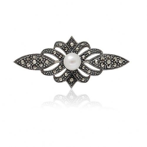 Sterling Silver | Marcasite | Pearl Brooch